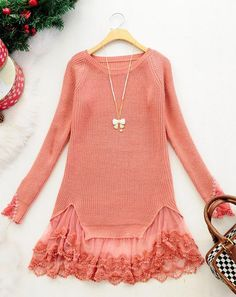 Red Long Sleeve Contrast Lace Pullovers Sweater