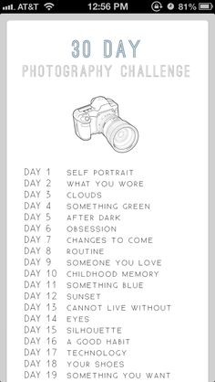 list of photos to take in order (one a day)
