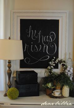 like the idea of framed black board put on top of cupboard, then change for season or whatever