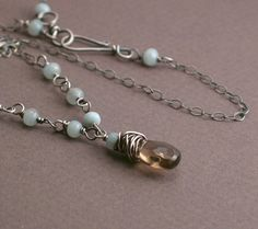 Lara Necklace - Smokey Quartz and Amazonite on Oxidized Sterling Silver Chain - Classic Wirewrapped Necklace - Brown and Aqua Blue (37.00 USD) by trillium