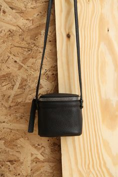 KARA Stowaway Bag in black pebble leather