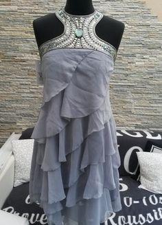 Kaufe meinen Artikel bei #Kleiderkreisel http://www.kleiderkreisel.de/damenmode/kurze-kleider/112345658-graues-chiffonkleid-mit-pailletten-und-strass-italienische-mode-gr-3840