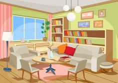 Buy Vector Illustration of a Cozy Cartoon Interior by vectorpocket on GraphicRiver. Vector illustration of a cozy cartoon interior of a home room, a living room with a sofa, armchairs, coffee table, ch. Anime Backgrounds Wallpapers, Anime Scenery Wallpaper, Room Interior, Home Interior Design, Adobe Illustrator, Casa Anime, Episode Interactive Backgrounds, Best Leather Sofa, Living Room