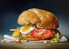 Sandwich realistic oil paintings by Dutch Artist Tjalf Sparnaay