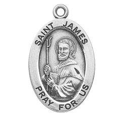 "Sterling Silver Oval Medal Necklace Patron Saint St. James with 20"" Chain in Gift Box. Catholic Saint James the Apostle Patron Saint of Arthritis, Chile, Hat Makers, Laborers, Milliners, Rheumatism, Apothecaries, Blacksmiths, Conquistadors, Druggists, Equestrians, Horsemen, Knights, Laborers, Pharmacists, Pilgrims, Rheumatism, Riders, Soldiers, Tanners, Veterinarians"