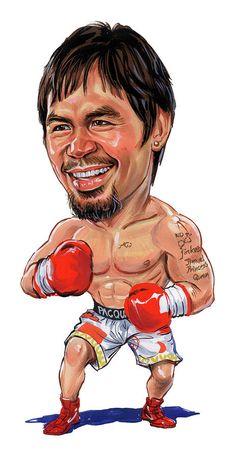 Manny Pacquiao Boxing Cartoon Art Fridge Magnet Size x
