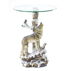 Snow Wolf Polyresin Glass Accent End Table Night Stand Rustic Home Decor
