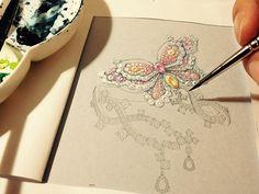 Jewelry Ads, Resin Jewelry, Fine Jewelry, Jewellery Sketches, Jewelry Sketch, Jewelry Design Drawing, Art Drawings Beautiful, Jewelry Illustration, Butterfly Bracelet
