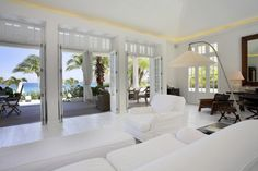 Relax in cool white comfort with a view of paradise at Villa Ellie, #StBarts #luxury #rentalvillas with #PremiumIslandVacations. For more photos, details and to book through Premium Island Vacations: http://www.premiumislandvacations.com/villa/56/st-barts-villa-ela-ellie/.
