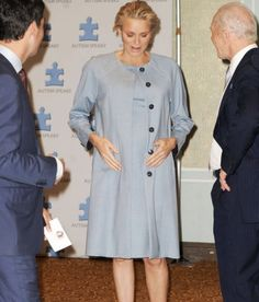 Princess Charlene in New York September 2014, very pregnant and glowing!