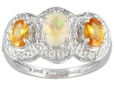 Ethiopian Opal, 1.32ctw Spessartite Garnet And .20ctw White Topaz Sterling Silver Ring Erv $121.00