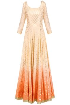 Gold and peach brocade motifs kalidaar anarkali set available only at Pernia's…