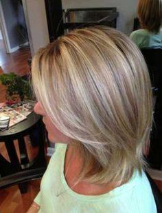 Blonde Bob Cut Hair with Brown Lowlights