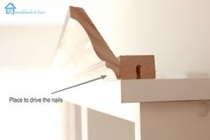 DIY: Excellent instructions on how to add crown molding to plain furniture. Th… DIY: Excellent instructions on how to add crown molding to plain furniture. Today a bookshelf, tomorrow kitchen cabinets! Pin: 1600 x 1067 Furniture Projects, Furniture Makeover, Home Projects, Diy Furniture, Furniture Stores, Furniture Outlet, Kitchen Furniture, Luxury Furniture, Furniture Design