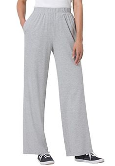 Women's Plus Size Petite 7-Day Wide Leg Knit Pants Heather Grey,L >>> You can get more details at
