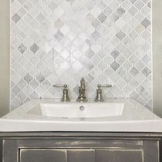 We are in love with the Hampton Carrara Marble Arabesque Mosaic Tile backsplash Grey Bathroom Tiles, Diy Bathroom Vanity, Tile Bedroom, Bathroom Layout, Bath Vanities, White Bathroom, Half Painted Walls, The Tile Shop, Upstairs Bathrooms