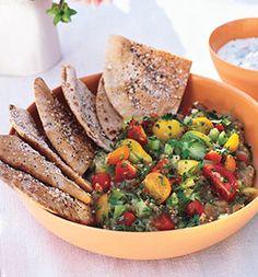 Roasted Eggplant Salad With Pita Chips and Yogurt Sauce