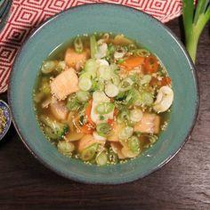 Japansk laxsoppa Rice Ingredients, Always Hungry, Fish Dishes, Cauliflower Rice, Cilantro, Pasta Salad, Potato Salad, Brunch, Healthy Recipes