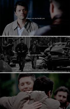 You and me have seen everything to see And the soles of your shoes are all worn down  The time for sleep is now  It's nothing to cry about  Cause we'll hold each other soon  The blackest of rooms . #spn #destiel