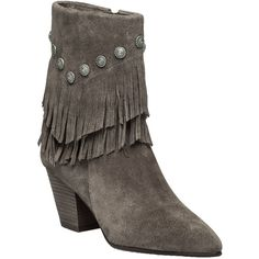BELLE BY SIGERSON MORRISON Yardley Vigona Suede Fringe Bootie ($158) ❤ liked on Polyvore featuring shoes, boots, ankle booties, ankle boots, grey suede, gray leather boots, suede fringe boots, leather ankle boots und leather booties