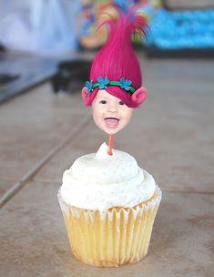 Trolls Inspired Poppy Photo Birthday Cupcake Toppers Digital