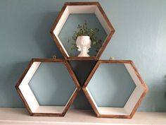 *3* HEXAGON SHELVES SCANDI MODERN RETRO GEOMETRIC WALL DISPLAY GIFT CHRISTMAS | eBay