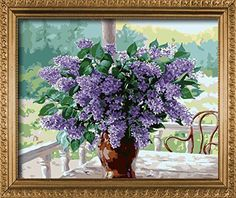 E-onelife Diy Oil Painting, Paint By Number Kits For Children, Lavender - Purple Love Diy Digital Oil Painting Without Wooden Frame