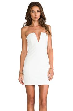 Nookie Rubix V-Front Bustier Dress in White from REVOLVEclothing