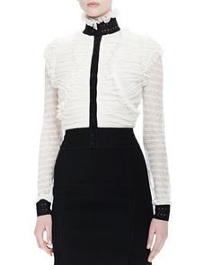 Ruched Ruffle Button Blouse, White - Alexander McQueen