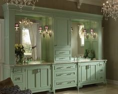 MINT GREEN-TAUPE AND WHITE bathroom, wow!  Very vintage Hollywood glam.  <3