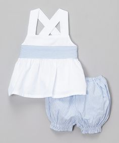 Look at this Sweet Dreams White & Blue Stripe Tank & Bloomers - Infant on #zulily today!