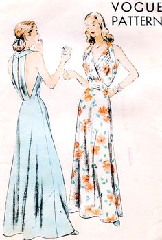 STUNNING 1940s Evening Gown Nightgown Pattern Easy To Make VOGUE 6248 Strappy Back BIAS Cut Halter Gown Hollywood Regency Style Glamour Bust 30 Vintage Sewing Pattern