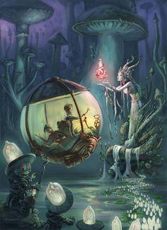 The Art Of Animation, Emil Landgreen / sci fi fairy city / fantasy / magic / digital art / fairy tale / toadstools Art And Illustration, Illustrations, Steampunk Illustration, Steampunk Kunst, Steampunk Fairy, Fantasy Kunst, Fantasy Landscape, Fairy Art, Pics Art