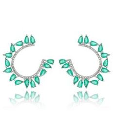 comprar brinco da moda com zirconias turmalina e cristal com banho de rodio semi joias finas