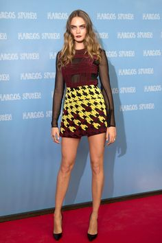 All of Cara Delevingne's 'Paper Towns' Outfits Are INSANELY Good // Brightly-printed Mary Katrantzou pre-fall 2015 dress with a fresh take on the classic houndstooth print