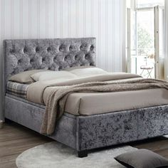 Showcasing a gorgeous modern design, the Cologne Steel Fabric Ottoman Bed features a luxurious crushed velvet bed frame and boasts a generously sized under-bed storage area for maximising bedroom space. Upholstered Bed Frame, Upholstered Ottoman, Crushed Velvet Ottoman Bed, Grey Velvet Bed, Ottoman Storage Bed, Bed Frame With Storage, Fabric Ottoman, Fabric Beds, Wooden Bed Frames
