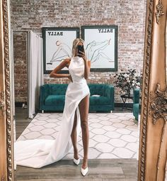 Legs for days in the Marquise bridal wedding dress perfect for the after party! Pretty Dresses, Sexy Dresses, Beautiful Dresses, Fashion Dresses, Prom Dresses, White Party Dresses, Dress Prom, Event Dresses, Ball Dresses