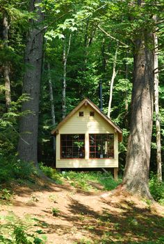 Sleeping house in Tamworth, New Hampshire. Built in 2008 by a father and son team from locally milled lumber.