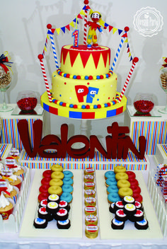 Circus birthday party cake and candy! See more party planning ideas at CatchMyParty.com!