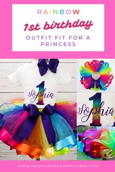 Rainbow Birthday Tutu Outfit - Personalized Birthday Party Outfit - Rainbow Gift for Girl - Cake Smash Outfit - Birthday or Any Age Rainbow First Birthday, 1st Birthday Tutu, Birthday Party Outfits, Baby Girl First Birthday, Birthday Gifts For Girls, 1st Birthday Parties, Personalised 1st Birthday Gifts, Cake Smash Outfit Girl, Summer Party Themes