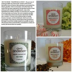 Burn CLEAN NON-TOXIC candles! These YUMMY candles are made of organic beeswax, organic coconut oil, organic essential oils and 100% organic cotton wick! No soy, no harmful chemicals, just delicious scent!  Visit www.avaandersonnontoxic.com/SamanthaH or www.facebook.com/Samantha4AvaA