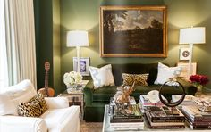 Love the moss green, pale blue and leopard