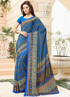 Buy online latest saree, finest collection of designer saree. Buy this faux crepe printed saree for casual.