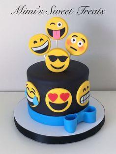 Emoji cake with Rice Krispie Marshmallow Fondant covered Topper Treats