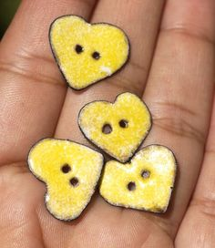 Vitreous Enamel Buttons Yellow Hearts Copper by SupplyDiva on Etsy, $18.00.........Materials: copper, metal, enamel, powdered glass, thompson enamel, elbow grease, hard work, love, care, vitreous enameling...... shipped from Mexico and only 1 left!!!