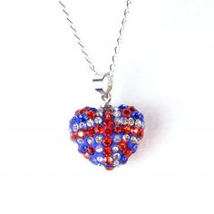 #Unionjack crystal and silver heart pendant, on a #sterlingsilver chain.