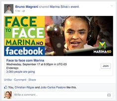 Brazil Presidential candidate Marina Silva FB event for Face to Face