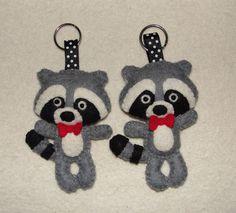 Wool Felt Raccoon Keychain