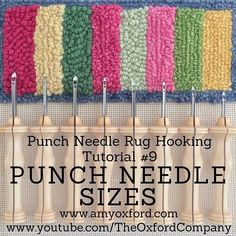 Oxford Punch Needles come in 8 different sizes. What are the sizes for? What weight yarn should you use in each one? All will be revealed in my new YouTube tutorial! To watch click the link in my profile and go to Tutorials. #oxfordpunchneedle #oxfordrughookingschool #amyoxford