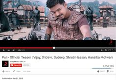 In less than 2 Days, Ilayathalapathy's Puli Teaser Crossed 2 Million Views in Youtube!!!   	==>> Puli Official HD Teaser